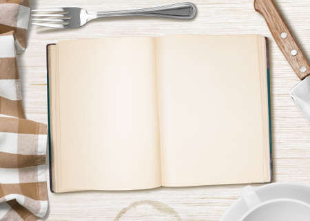 kitchen table with open book photo