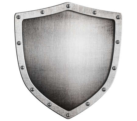 old medieval metal shield isolated on white Stock Photo