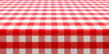 table perspective view covered by red checked tablecloth Stock Photo