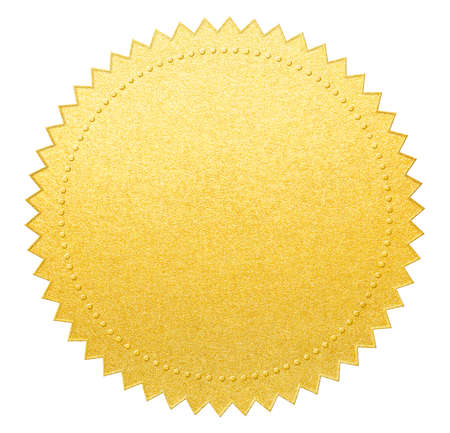 quality seal: gold paper seal or medal Stock Photo