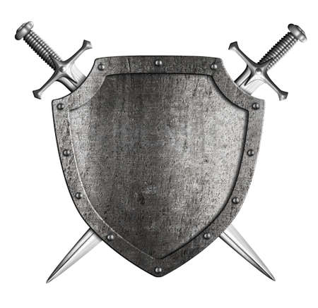 aged metal shield with two knight crossed swords isolated on white Stock Photo