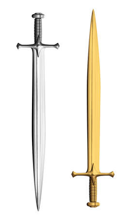 Oro y plata espadas caballero aislados en blanco Foto de archivo