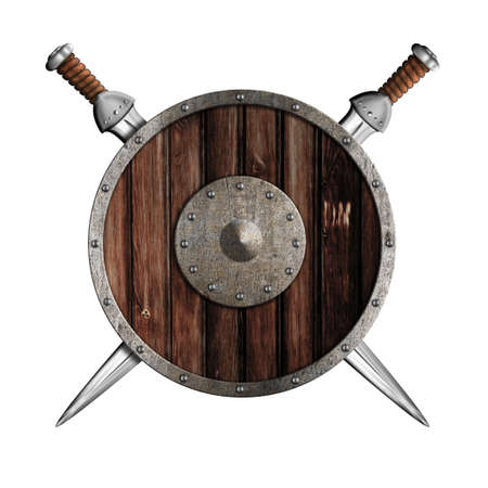 berserk: Two knight swords and wooden round shield isolated