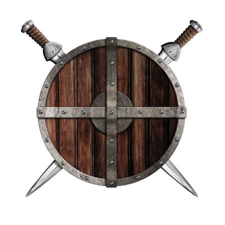 Two viking swords behind wooden round shield isolated photo