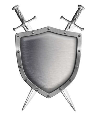 sword and shield: metal shield with two crossed swords isolated on white Stock Photo