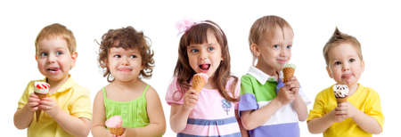 licking: happy kids group with ice cream isolated