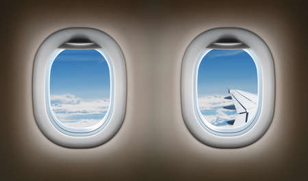 Two airplane windows. Jet interior. photo