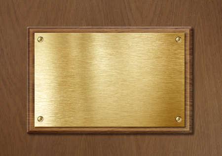 placa bacteriana: placa de oro o lat�n para nameboard o Fondo de diploma en marco de madera Foto de archivo