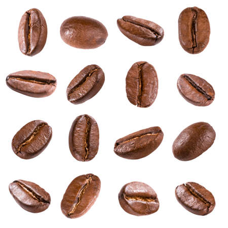 흰색에 고립 된 커피 콩