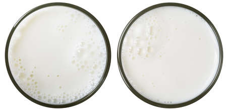 glass milk: vista superior vaso de leche aislado en blanco