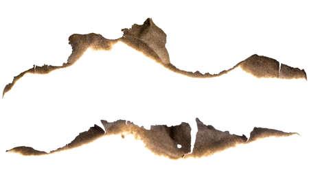 구운 종이 가장자리에 고립 된 흰색 설정