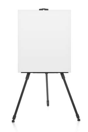 supporto pubblicitario o di lavagna a fogli mobili o artista vuoto cavalletto isolato su bianco