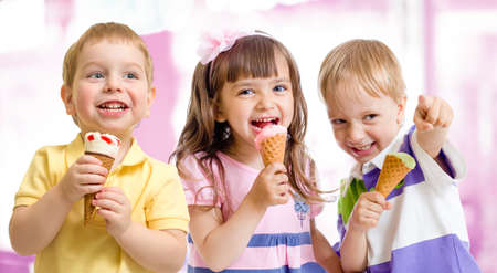 child ice cream: happy children or kids group with ice cream