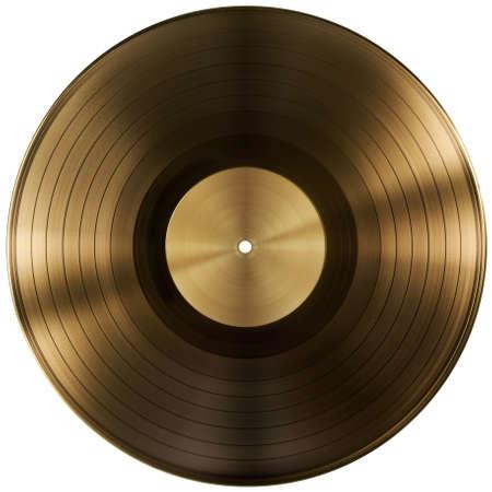 クリッピング パスを含めると分離された金またはビニールのレコードのディスク 写真素材