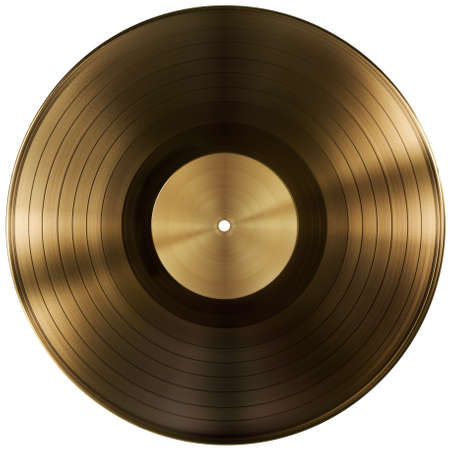 gold record: gold or vinyl record disc isolated with clipping path included