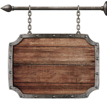 nameboard: medieval wood sign hanging on chains isolated on white