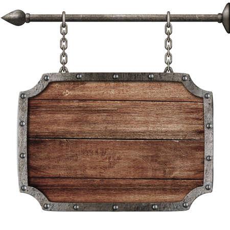 middeleeuwse houten teken opknoping op kettingen op wit wordt geïsoleerd Stockfoto