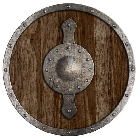 Old viking wooden shield isolated on white photo