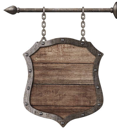 medieval wood sign or shield hanging on chains isolated on white photo
