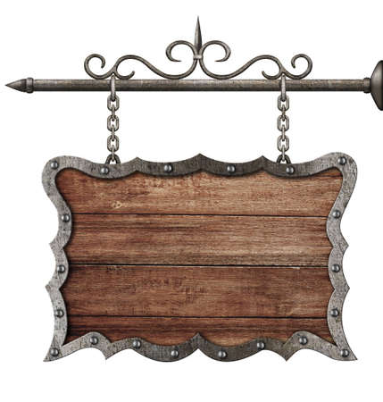 medieval wooden sign board hanging on chains isolated on white photo