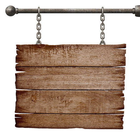 medieval signboard hanging on chain isolated on white photo