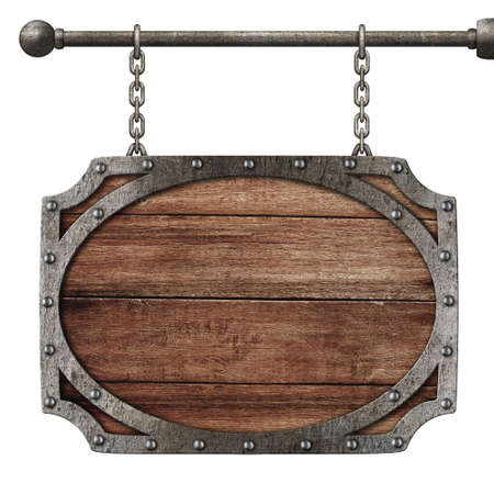medieval wooden sign hanging on chains isolated on white Stock Photo