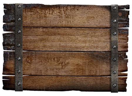 rusty: medieval de madera tablero de la muestra aislada Foto de archivo