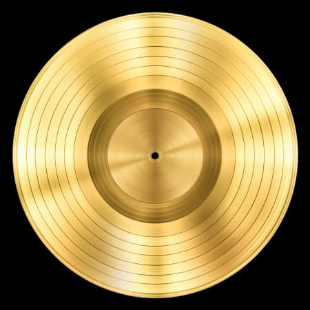 gold yellow: gold record music disc award isolated on black Stock Photo
