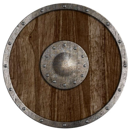 Medieval or vikings wooden shield isolated on white Stock Photo