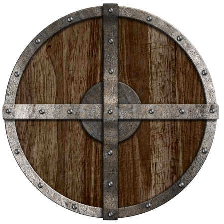 Medieval wooden shield isolated on white photo