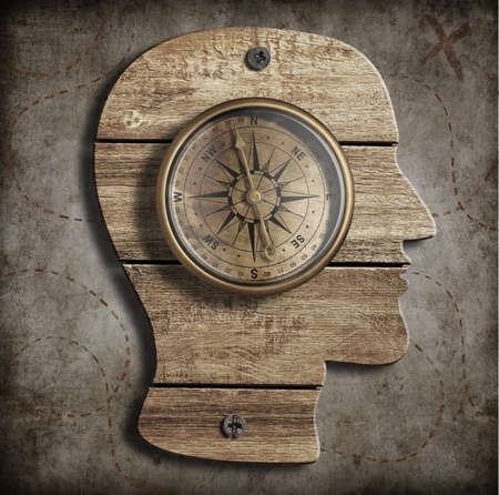 mental work: Human head and old compass. Path finding, idea concept.