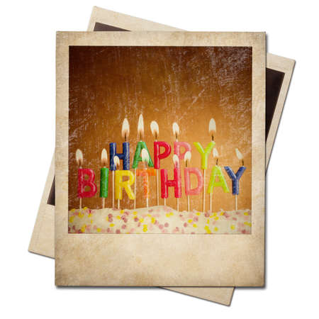Old polaroid birthday candles instant frame isolated photo