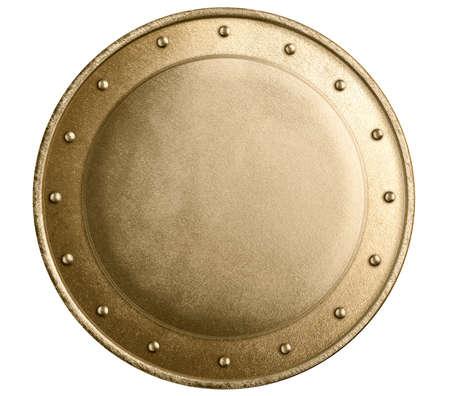 ESCUDO: bronce o de metal de oro escudo medieval redondo aislado Foto de archivo
