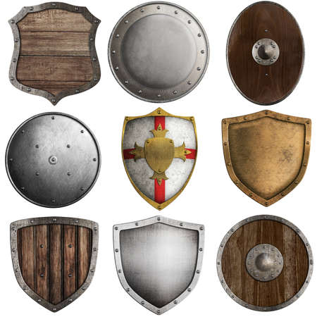 medieval shields collection #2 isolated on white photo