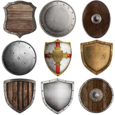 metaal: middeleeuwse schilden collectie # 2 op wit wordt geïsoleerd Stockfoto