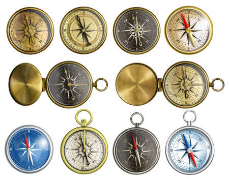 ten nautical isolated compass set photo