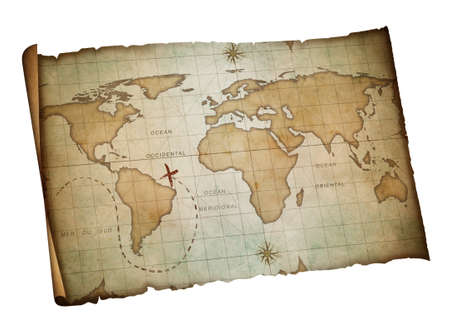 Antique Map Of The World On Parchment Paper Stock Photo Picture - Roll up map of us