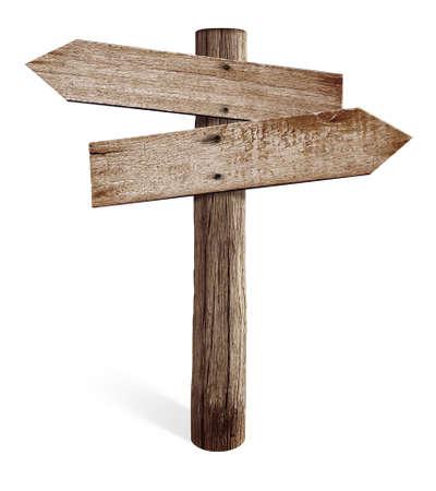 Oude houten verkeersbord met links en rechts pijlen geïsoleerd Stockfoto