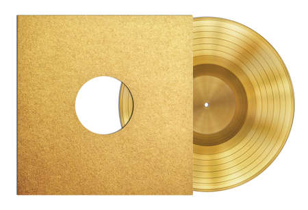 sleeve: gold record music disc award in sleeve isolated Stock Photo