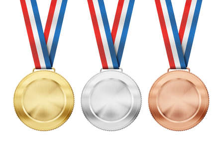 gold, silver, bronze realistic sport medals with tricolor ribbon set isolated on white photo