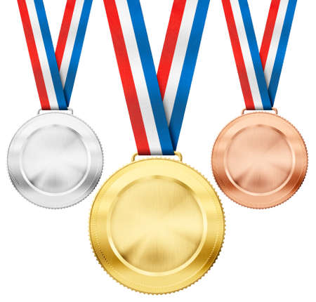 complement: gold, silver, bronze realistic sport medals with tricolor ribbon set isolated on white