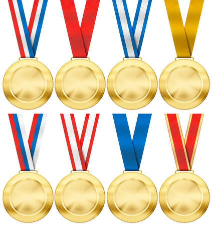 gold medal set with various photo realistic ribbon type isolated on white photo