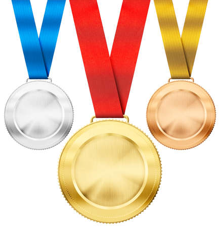 complement: gold, silver, bronze realistic sport medals with ribbon set isolated on white Stock Photo