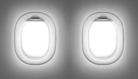 Airplane or jet interior with windows photo