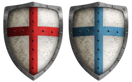 medieval crusader shield illustration isolated on white Stock Photo