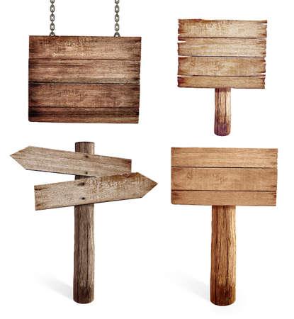 Vieux panneaux de signalisation en bois ensemble isolé Banque d'images