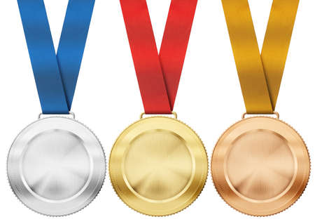 gold, silver, bronze medals with ribbon isolated on white photo