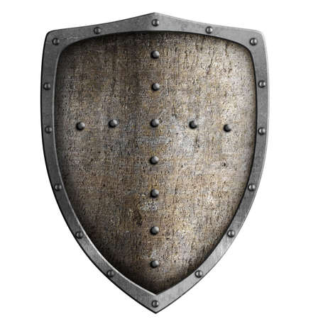 medieval shield: metal shield isolated on white