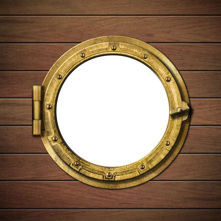 detailed wooden ship porthole Stock Photo