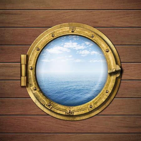 boot raam of patrijspoort met uitzicht op zee of oceaan horizon op houten muur